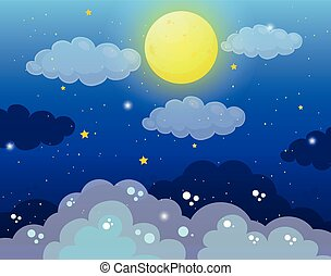 fullmoon, cielo, stelle, fondo