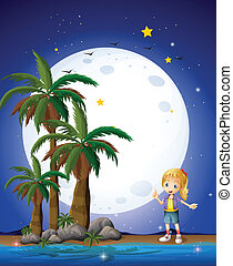 fullmoon, clair, plage, girl, sous