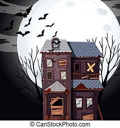fullmoon, dom, nawiedzany, noc