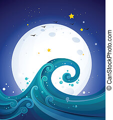 fullmoon, grande, luminoso, abaixo, ondas