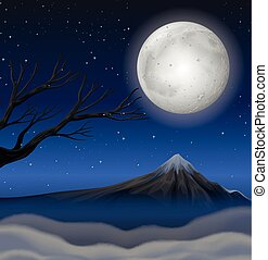 fullmoon, montagne, scène, nuit