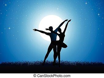 fullmoon, para, balet, o, taniec