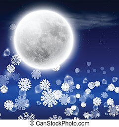 fullmoon, paysage hiver, nuit