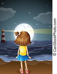 fullmoon, pequeno, menina, praia, observar