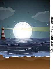 fullmoon, phare, plage