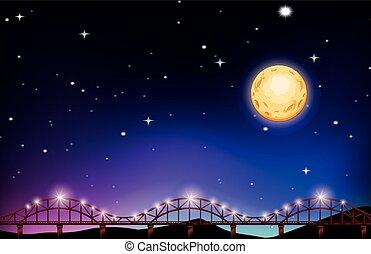 fullmoon, pont, sur, nuit