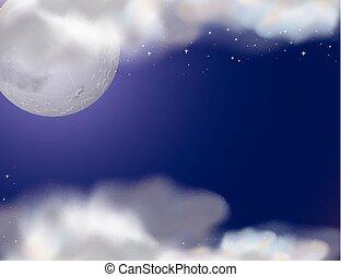 fullmoon, scène, étoiles, nuit