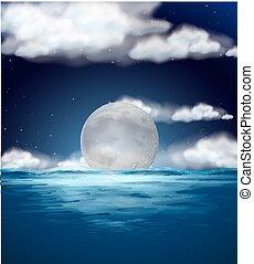 fullmoon, scène nuit, océan