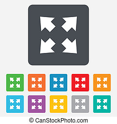 Fullscreen sign icon. Arrows symbol. Icon for App. Rounded ...