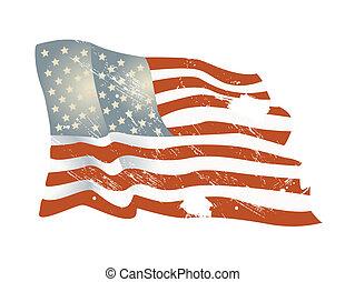 fullständigt, illustration, bakgrund, amerikan, vektor, editable, flagga