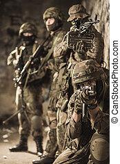fullständigt, utstyrt med, militär, män