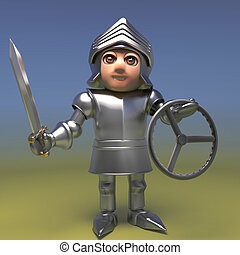 Fully armoured medieval knight with sword holding a car steering wheel, 3d illustration