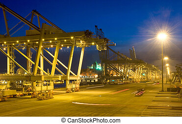 Fully automated container terminal at night - The fully...