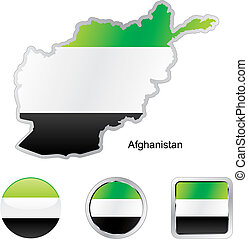 flag of afghanistan in map and internet buttons shape