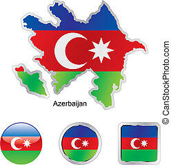 flag of azerbajan in map and internet buttons shape