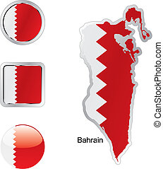 bahrain in map and internet buttons shape