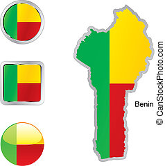 flag of benin in map and internet buttons shape