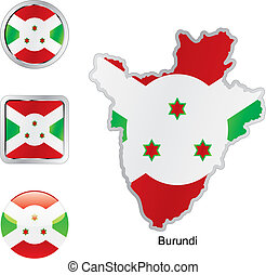 flag of burundi in map and internet buttons shape