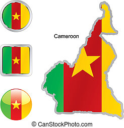 flag of cameroon in map and internet buttons shape