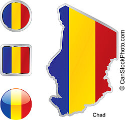 flag of chad in map and internet buttons shape