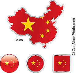 flag of china in map and internet buttons shape