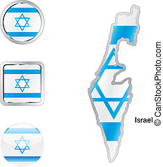 flag of israel in map and internet buttons shape