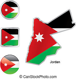flag of jordan in map and internet buttons shape