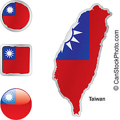flag of taiwan in map and internet buttons shape - fully...