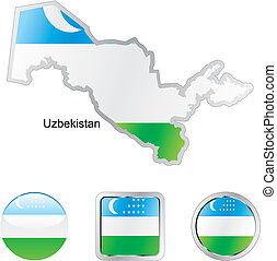 flag of uzbekistan in map and internet buttons shape