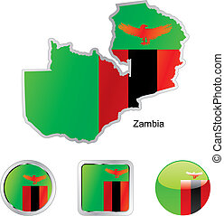 flag of zambia in map and internet buttons shape