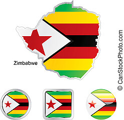 flag of zimbabwe in map and internet buttons shape