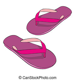 beach slippers - fully editable illustration beach slippers