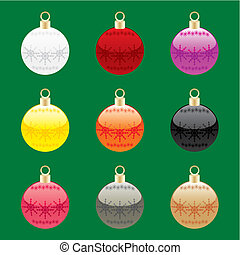 vector christmas bulbs with details
