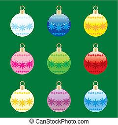 vector christmas bulbs with details