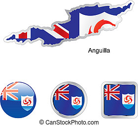 flag of anguilla in map and web buttons shapes