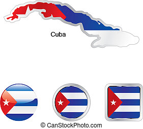 flag of cuba in map and web buttons shapes - fully editable...