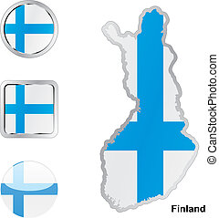 flag of finland in map and web buttons shapes