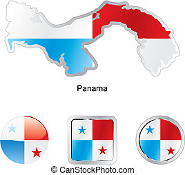 flag of panama in map and web buttons shapes - fully...