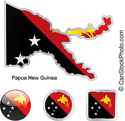 fully editable vector flag of papua new guinea in map and web buttons shapes