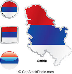 flag of serbia in map and web buttons shapes - fully...