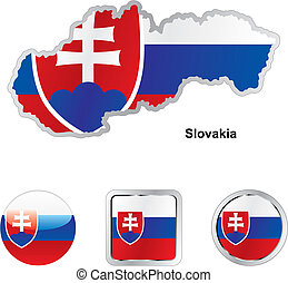 flag of slovakia in map and web buttons shapes - fully...