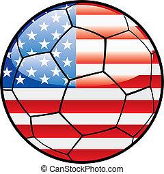 flag of America on soccer ball