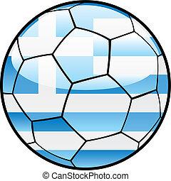 flag of Greece on soccer ball