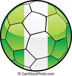 flag of Nigeria on soccer ball