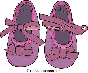 Illustration of a pair of baby shoe - fully editable vector...