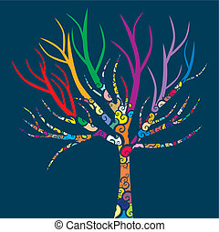 tree with colored patterns
