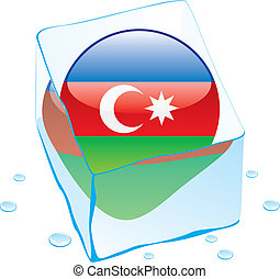 azerbaijan button flag frozen in ic