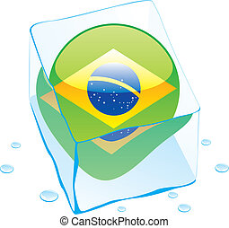 brazil button flag frozen in ice