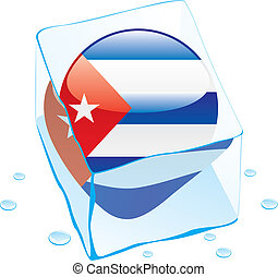 cuba button flag frozen in ice