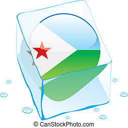 djibouti button flag frozen in ice